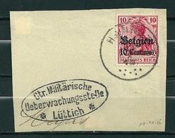 """BZ/OC 3 Op Fragment Gestempeld HANNUT Met Stempel """"Ctr Militärische Ueberwachungsstelle Lûttich"""" - Weltkrieg 1914-18"""