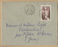 N° 877 Seul Sur Enveloppe De Bletterans  Vers Villechantria (JURA ) 28/4/1951 - Postmark Collection (Covers)