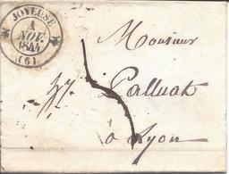 JOYEUSE ARDECHE 5 Lettres Avec Cachet 12 Pour LYON (3 De 1844 + 2 De 1848) - Marcophilie (Lettres)