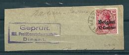"BZ/OC 3 Op Fragment Gestempeld HASTIERE-LAVAUX Met Stempel ""Geprüft Mil. Postüberwachungsstelle Dinant"" - WW I"