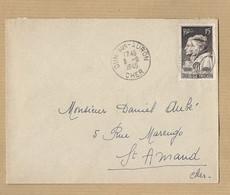 N° 845 Seul Sur Enveloppe  De Dun Sur Auron Vers ST Amand 9/9/49 - Postmark Collection (Covers)