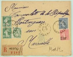Lettre Recommandée 1927 Vedene Vaucluse --> Marseile, Affr. 1 F 75, Timbre Appel Des Facteur Au Dos - France