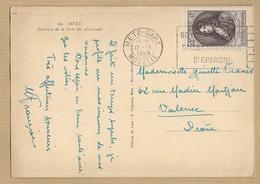 N° 848 Seul Sur CP 69 Metz TAD Gare De Metz 12/9/49 Vers Valence - Postmark Collection (Covers)