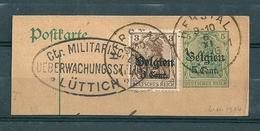 """BZ/OC 11/12 Op Fragment Gestempeld HERSTAL Met Stempel """"Ctr Militärische Ueberwachungsstelle Lûttich"""" - Weltkrieg 1914-18"""