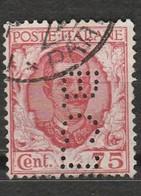 Italie - 1 Timbre Victor Emmanuel III -  75 Cent N° 183 Perforé BCI - Année 1926 - 1900-44 Victor Emmanuel III