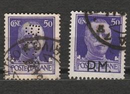 Italie - 2 Timbres Victor Emmanuel 50 Cent Année 1929 Mi IT 307 X Perforé B.C.I - Année 1943 Mi IT MP 7 Surchargé P.M. - 1900-44 Victor Emmanuel III