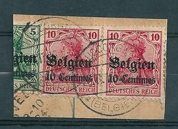 BZ/OC 3 In Paar Op Fragment Gestempeld HUCCORGNE - Weltkrieg 1914-18
