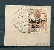 BZ/OC 15 Op Fragment Gestempeld (brugstempel) JEUK - Weltkrieg 1914-18