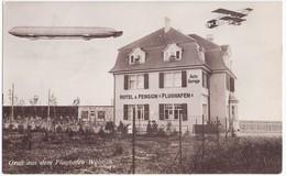 WEIMAR Flughafen Hotel U Pension Luftschiff Zeppelin Flugzeug Auto Garage 21.9.1913 Gelaufen - Weimar