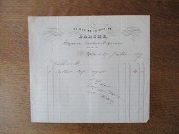 PARIS DARCHE BIJOUTERIE JOAILLERIE ORFEVRERIE 32 RUE DE LA PAIX FACTURE DU 27 JUILLET 1867 - 1800 – 1899