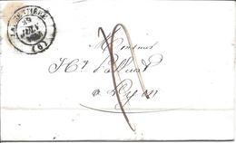 LARGENTIERE ARDECHE 5 Lettres Avec Cachet 14 Pour Lyon Ou St Etienne (3 De 1844, 1 De 1847 1 De 1848) - Marcophilie (Lettres)