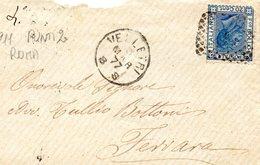 LETTERA       ANNULLO      VELLETRI      1877 - Storia Postale