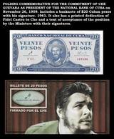CUBA. Commemorative Cover With Banknote $20 Cuban Pesos With Che Guevara Signature. 1961 - Cuba