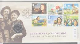 SCOUTS -  GREAT BRITAIN - 2007 - SCOUTING CENT SET OF 6 + 50P SPECIAL COIN ON ILLUSTRATED FDC,GILWELL POSTMARK - Lettres & Documents