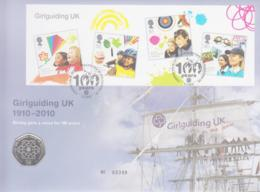 SCOUTS -  GREAT BRITAIN  - 2010 - GIRL GUIDES CENTENARY S/SHEET + SPECIAL 50P COIN ON ILLUSTRATED ROYAL MINT  FDC - Lettres & Documents