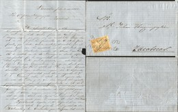 J) 1865 MEXICO, EAGLE ISSUE AND CANCELLATION; FOLDED LETTER FROM PARADA DATELINED INSIDE FRANKED WITH 1865 2R ORANGE, WI - Mexico