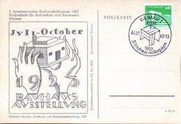 "(DDR-B2) DDR Sonderkarte ""3.Internationales Bauhauskolloqium"", EF Mi 2484, SSt. 6.7.1983 WEIMAR 1 - Briefe U. Dokumente"