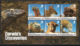 Guernsey 2009 Darwin's Discoveries, Animals, Mi Bloc 49, MNH(**) - Guernesey