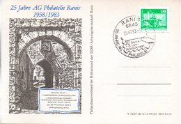 """(DDR-B2) DDR Sonderkarte """"25 Jahre AG Philatelie Ranis"""", EF Mi 1868, SSt. 25.7.1983 RANIS - [6] République Démocratique"""