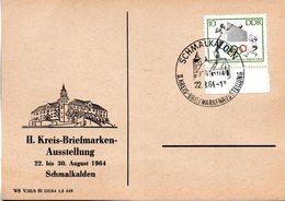 """(DDR-B2) DDR Sonderkarte """"II. Kreis-BM-Ausstellung Schmalkalden"""", EF Mi 1034, SSt. 22.8.1964 SCHMALKALDEN - DDR"""