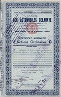 Th6    VOITURE : DELAHAYE : Certificat1949N° 12 - Actions & Titres