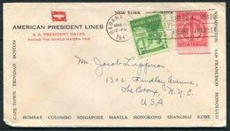 1941 Cuba Habana. American Presidents Line Ship Cover. S.S. PRESIDENT HAYES Maiden Voyage - New York - Cuba