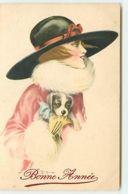 N°10756 - Carte Illustrateur - A. Bertiglia - Femme Avec Chapeau Et Chiot Avec Noeud Rose - N°7563 - Bertiglia, A.