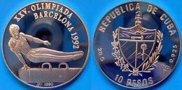 CARIBBEAN 10 P 1992 ARGENTO PROOF SILVER OLYMPIC GAMES CAVALLINA BARCELLONA 92 PESO 28g TITOLO 0,925 CONSERVAZIONE FONDO - Cuba
