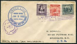 1933 El Salvador, Grace Line SANTA ROSA Ship Cover Maiden Voyage - New York - El Salvador