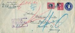 1936 ESTADOS UNIDOS , SOBRE ENTERO POSTAL CERTIFICADO , SOUTH LANSING - BAD GODESBERG , TRÁNSITO , LLEGADA - 1921-40