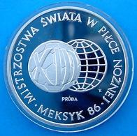 POLAND 1000 Z 1986 SILVER ARGENTO PROOF FOOTBALL WORLD CUP CALCIO SOCCER MUNDIAL WEIGHT 16,6g. TITOLO 0,750 CONSERVAZION - Poland