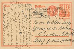 Postreiter [P153] 28.6/1922 Baden-Baden (Sonderstempel Rennen Reiter Pferd) Fernkarte 2. TP Nach Berlin - Germany