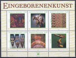 UNO ONU Wien Vienna 2003 Kunst Arts Kultur Kulture Eingeborenenkunst Mola Mochica Tarabuco Masken Masks, Bl. 17 ** - Wien - Internationales Zentrum