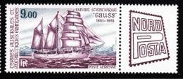 FSAT TAAF 1984 MNH Sc #C84 9fr Gauss Scientific Vessel With NORDPOSTA Label - Poste Aérienne