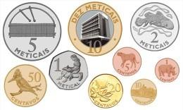 MOZAMBIQUE 9 COINS SET 1, 5, 10, 20, 50 CENTAVOS + 1, 2, 5, 10 METICAIS BIMETAL UNC 2006 - Mozambique