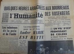 LES EPOUX ROSENBERG- MANIFESTATION AU VÉL D'HIV CONTRE LEUR EXÉCUTION- Journal L'HUMANITÉ Du 19 Juin 1953 - Journaux - Quotidiens