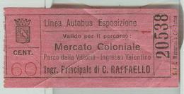 TORINO-LINEA AUTOBUS ESPOSIZIONE - MERCATO COLONIALE/PARCO DELLA VITTORIA -cent.60 - Autobus