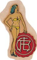 CLUB ATLETICO LANUS SOCCER FUTBOL STICKER PIN UP GIRL FEMME BIKINI CIRCA 1940s - BLEUP - Vignettes Autocollantes