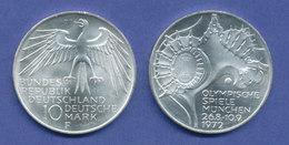 Olympische Spiele 1972, 10DM Silber-Gedenkmünze Olympiastadion  -  F - [ 7] 1949-… : FRG - Fed. Rep. Germany