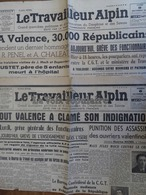 VALENCE (DRÔME) MANIFESTATION RÉPRIMÉE FAISANT 3 MORTS EN 1947- Journaux LE TRAVAILLEUR ALPIN 6 Et 8 Décembre 1947 - Newspapers