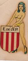 CLUB ESTUDIANTES LA PLATA SOCCER FUTBOL STICKER PIN UP GIRL FEMME BIKINI CIRCA 1940s - BLEUP - Vignettes Autocollantes