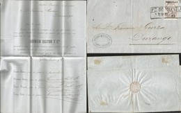 J) 1866 MEXICO, IMPERIAL EAGLE, MEDIO REAL, BLACK CANCELLATION,COMPLETE LETTER, CIRCULATED COVER, FROM MAZATLAN TO DURAN - Mexico