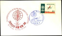 HEALTH-MALARIA ERADICATION- KOREA -FDC-1962-FC-79 - Enfermedades