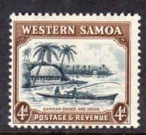 WESTERN SAMOA - 1935 4d CANOE SHIP STAMP FINE MINT LMM * SG184 - Samoa