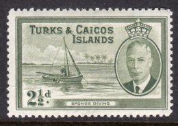 TURKS AND CAICOS ISLANDS - 1950 KGVI 2 1/2 SHIP STAMP FINE MINT LMM * SG225 - Turks And Caicos