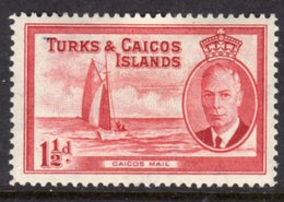 TURKS AND CAICOS ISLANDS - 1950 KGVI 1 1/2 SHIP STAMP FINE MINT LMM * SG223 - Turks And Caicos
