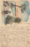 1903: Post Card, Orig. Aquarell, Metz To Saarburg/Lothringen - France