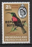 Botswana 2½ Cent 1966 Single Bird Stamp Of Bechuanaland Overprinted 'Republic Of Botswana' - Botswana (1966-...)