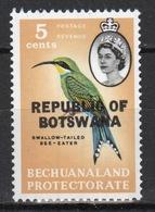 Botswana 5 Cent 1966 Single Bird Stamp Of Bechuanaland Overprinted 'Republic Of Botswana' - Botswana (1966-...)