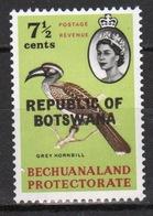 Botswana 7½ Cent 1966 Single Bird Stamp Of Bechuanaland Overprinted 'Republic Of Botswana' - Botswana (1966-...)